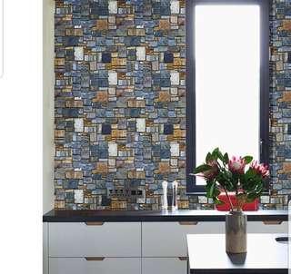 Waterproof Modern Bricks Stones Wallpaper