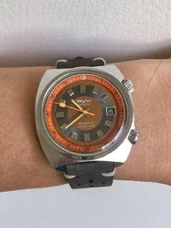 Vintage 60' Wyler Super Compressor 660 feet Dynawind Automatic Diver watch with Date