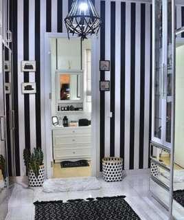 Waterproof Black and whute Stripes Wallpaper