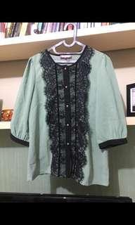 Preloved blouse atasan wanita bahan sifon lengan 3/4