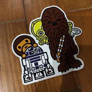 Pop Culture Luggage Laptop Misc Sticker Bape Bathing Ape Star Wars Disney Chewbacca R2-D2 C-3PO Collaboration Fashion