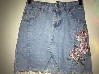 blue denim skirt, floral print