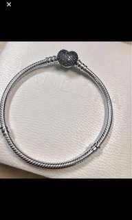 Brand new Pandora bracelet with heart crystal clasp