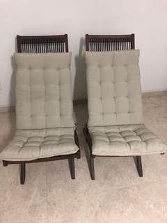 2 Solid wood IKEA folding reclining chairs with cushion