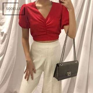 CNY INSTOCKS Puffy ruched crop top