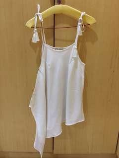(NEW) Et Cetera white tank top with tassel size S