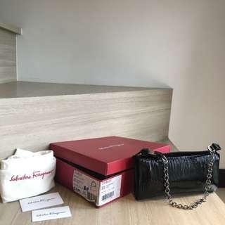Salvatore Ferragamo Patent Leather Evening clutch chain bag