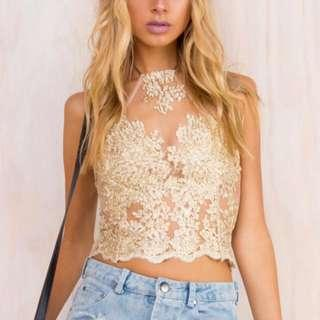 Gold Lace Halter Crop Size 6