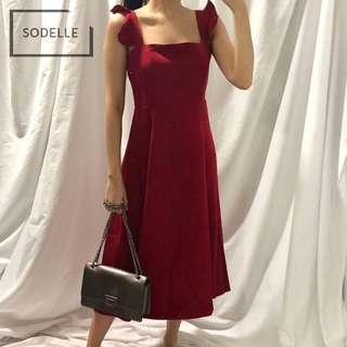 CNY INSTOCKS Flutter sleeves straight cut midi dress (LONG VER.)