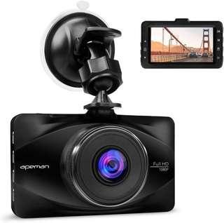APEMAN 1080P Dash Cam 3-inch LCD Screen Dashboard Camera with 170 degree Wide Angle, WDR, G-sensor, Parking Monitor, Loop Recording, Motion Detection.