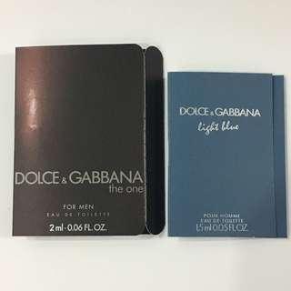 D&G The One & D&G Light Blue Pour Homme Perfume Samples