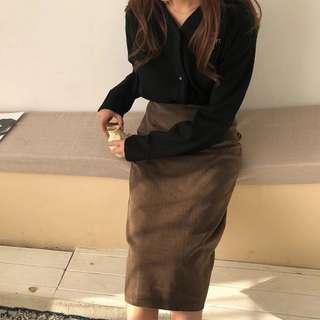 BNWT Long Brown Corduroy Skirt