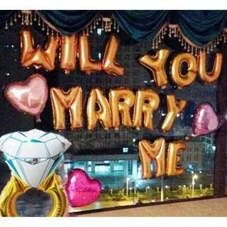 """Wedding Proposal Balloon Set – Will You Marry Me Wordings with 38"""" Giant Diamond Ring"""