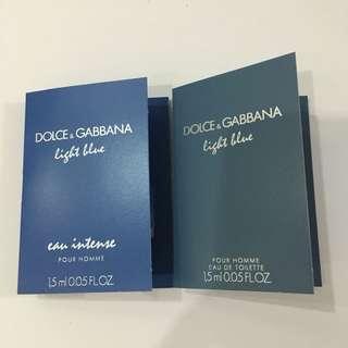 D&G Light Blue edt & Eau Intense Pour Homme Perfume Samples