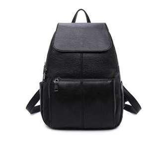 BN Black Faux Leather Zipped Backpack