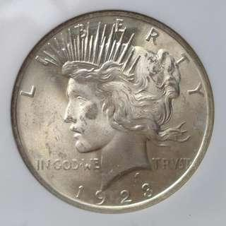 1923 US Peace Dollar  $1 NGC MS64