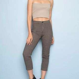 Brandy melville brown plaid/houndstooth tilden pants