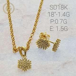 18k saudi gold set (necklace with earring)