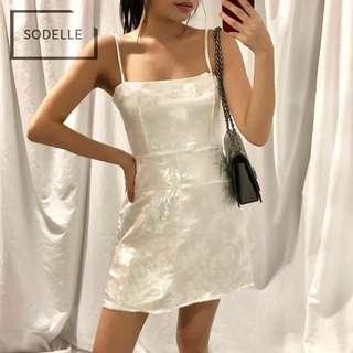 CNY INSTOCKS Embroidery straight cut dress