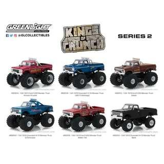 GREENLIGHT COLLECTIBLES  1:64 *KINGS OF CRUNCH SERIES 2*(SET OF 6) MONSTER TRUCK
