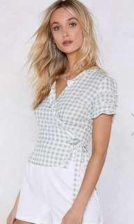 Nasty Gal gingham wrap top