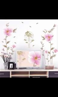 🎉New Arrival Auspicious Romantic Flower Study Room Living Room TV Background Decoration Removable Wall Sticker Bedroom Bedside Wall Sticker ⭕Size  see last picture *CM