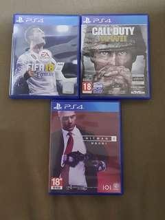 Hitman 2, Call of Duty ww2, fifa18 PS4