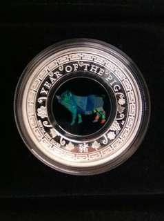 Australia 2019 year of the pig silver proof with opal