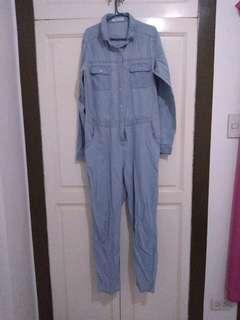 Denim-style Romper Pants