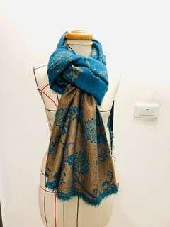 🚚 聖誕禮物*民族風格 混紡羊毛雙色提花圍巾 兩面皆可用 *湖水藍