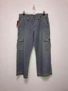 伏見古著 EDWIN 藍白條紋九分工裝牛仔褲 vintage