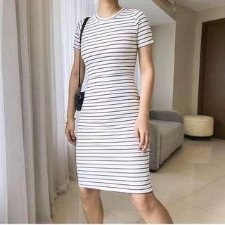 Striped Bodycon Dress in Maroon and White