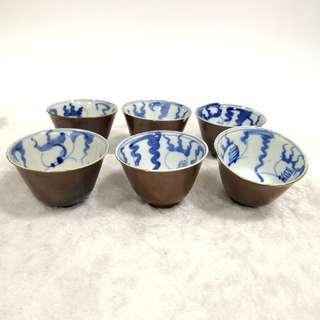 民国酱釉青花金鱼杯 (6个一套)