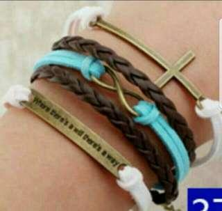 Bracelet🆓📩🇰🇷Fashion 🎭Arm Ring Bracelet 💑Couple💁 Classmate 👭Friend 👍Study Group Blue White Leather Forever Girl Lady Love