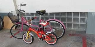 My lady's bicycle and son's together