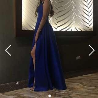 BLUE BACKLESS LONG DRESS FOR RENT
