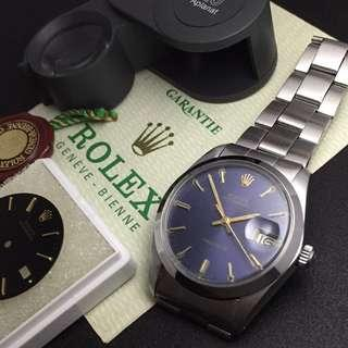 FOR SALE (w Punched Paper)- 34mm Rolex 6694 Oysterdate in Aged Blue Sunburst