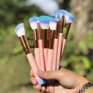10 Pieces Gradient Blue Makeup Brushes