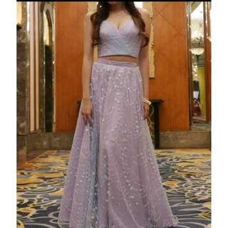 TWO PIECE LAVENDER GOWN FOR RENT