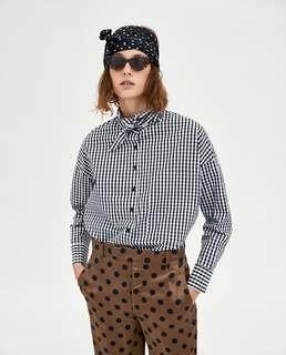 全新 / ZARA 黑白格紋 oversize 寬鬆 襯衫 領巾綁帶設計 cos acne 可參考