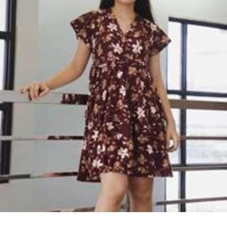 Maroon Floral Skater Dress