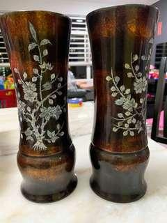 Hand painted Lacquered vases
