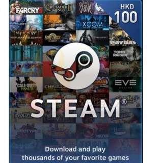 代友出售 Steam HK$100 預付卡