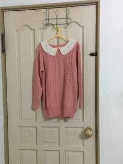 🚚 白領粉紅色毛線衣