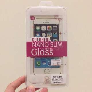 iPhone 6 Plus 磨砂碳纖維 白色滿版