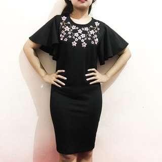 Dress hitam pesta embroidery bordir