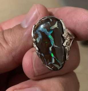 Australian Solid Natural Boulder Opal 925 Sterling Silver Ring - Size P