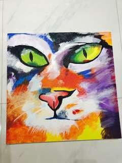 Abstract Cat Canvass Acrylic Oil Painting