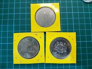 3 pcs Malaysia coin one ringgit