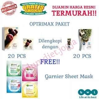 Paket combo optrimax plum 20 + jelly delite 20 free sheet mask